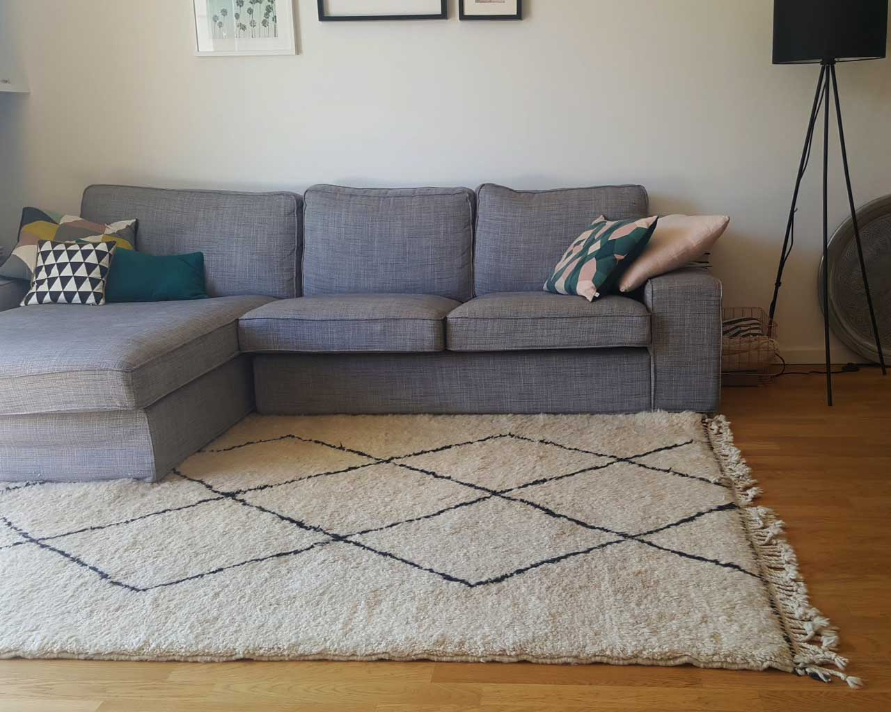 Large Beni Ourain Living Room Grey Sofa Brown Floor 2