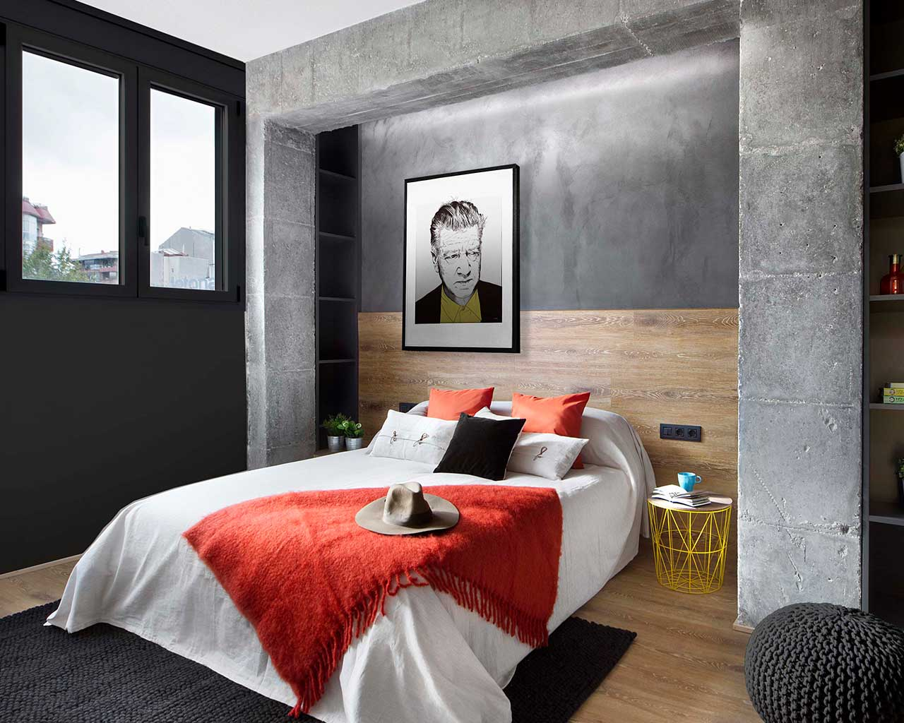 design apartment bed room black woollen carpets
