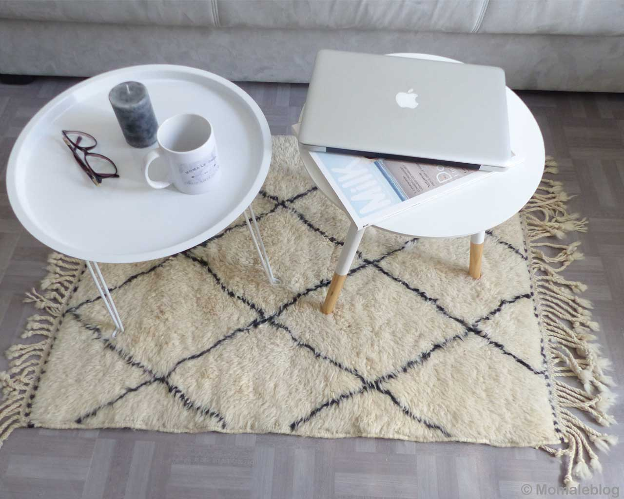 glasses cup and laptop on round table morocco modern rugs