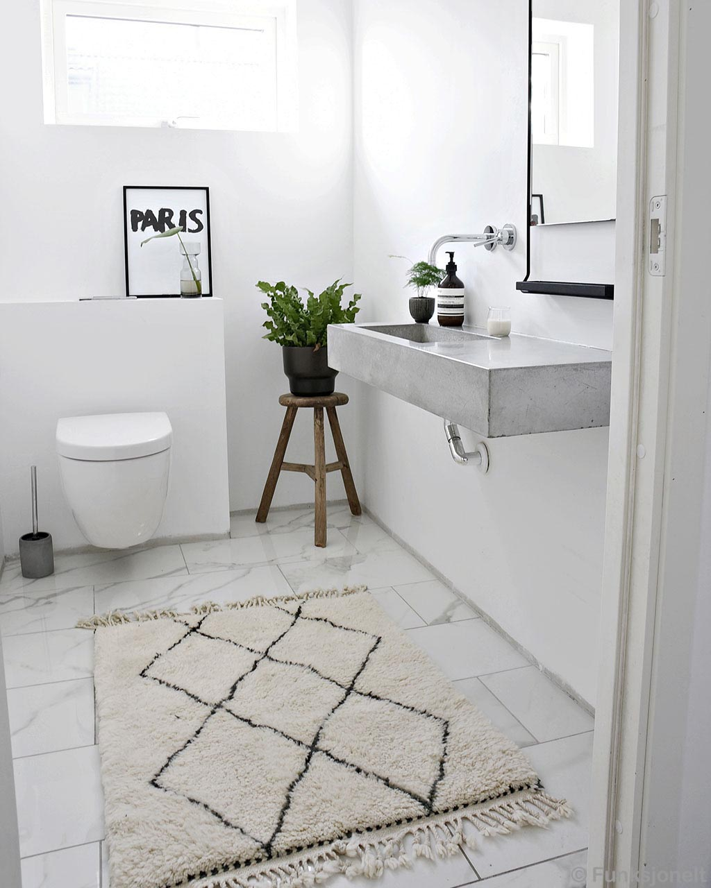 wash room setting modern black patterned indoor rug