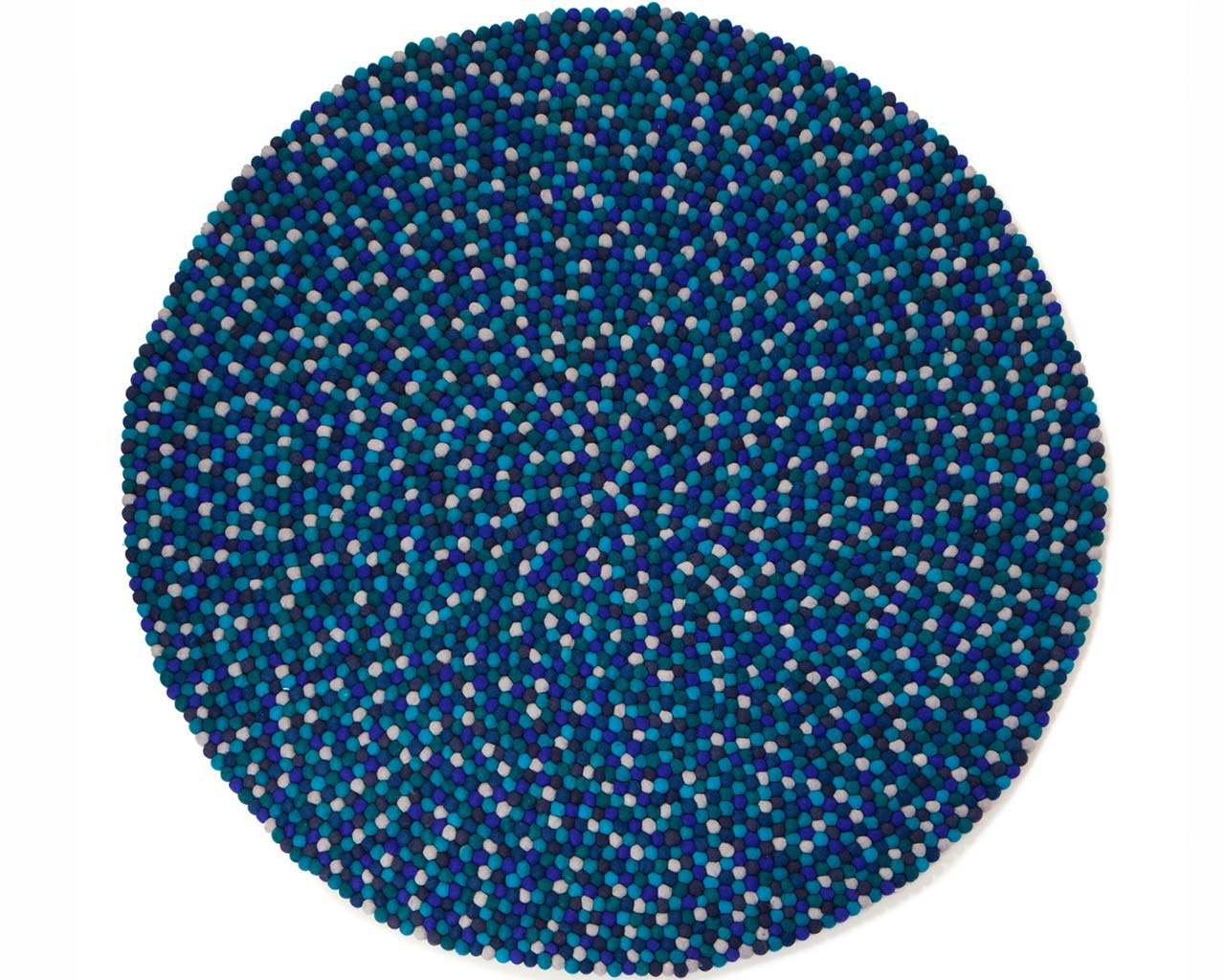 combination of lue colored balls felt rug