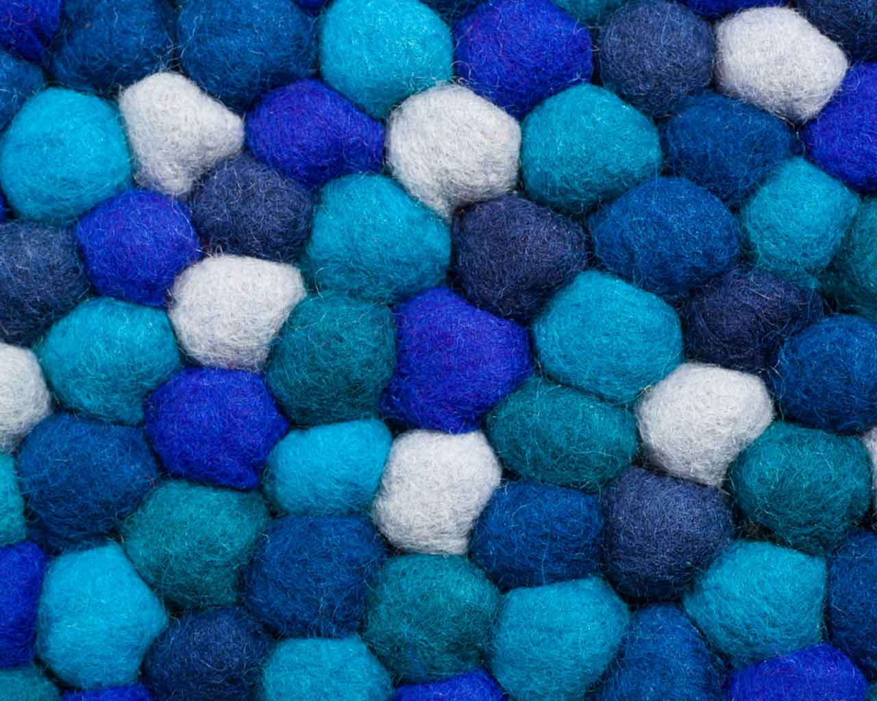 felt ball rug scandinavian design blue