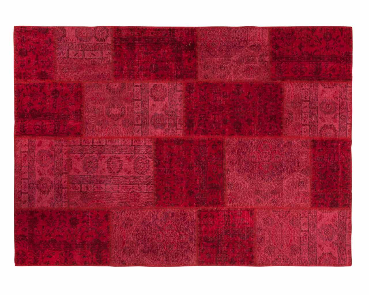 red overdyed patchwork rug
